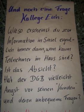 Protestplakat - gemalt an dem Tag durch Beschäftigte, als Dr. Dieter Eich die Schließung bekannt gab.